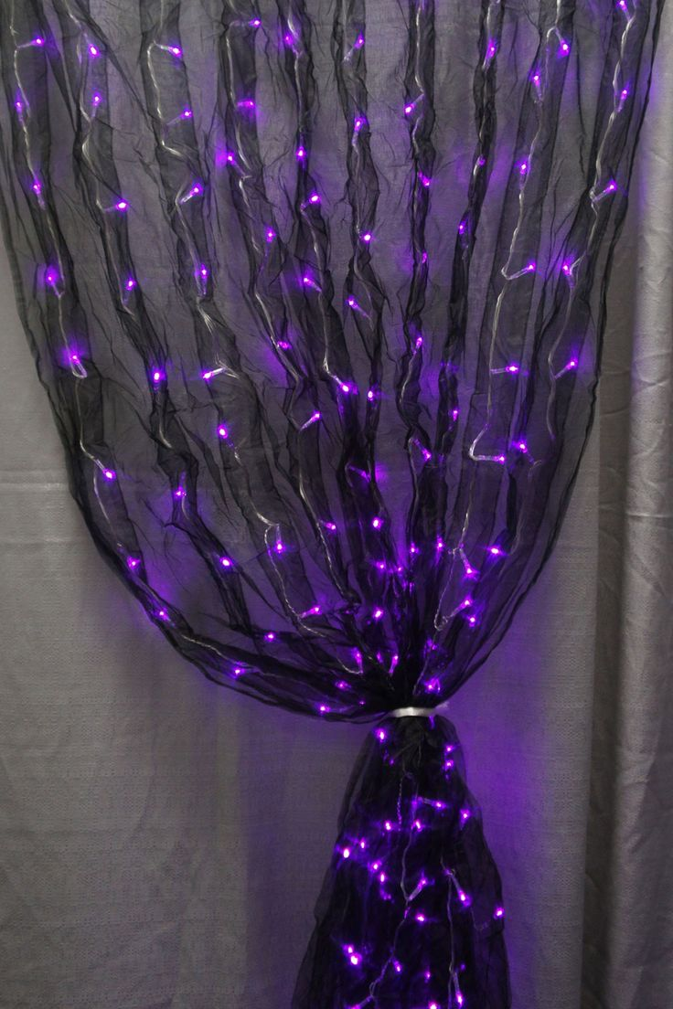 Pin baroque bed purple velvet fabric with rhinestones and black - Black Fabric Sash And Purple Led Lights Together Makes For One Really Cool Decoration