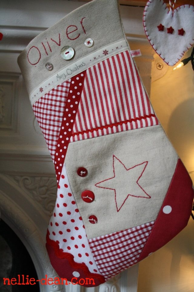 Beautiful personalised patchwork christmas stocking: nellie dean