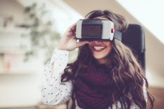 Having fun in virtual reality stock photo