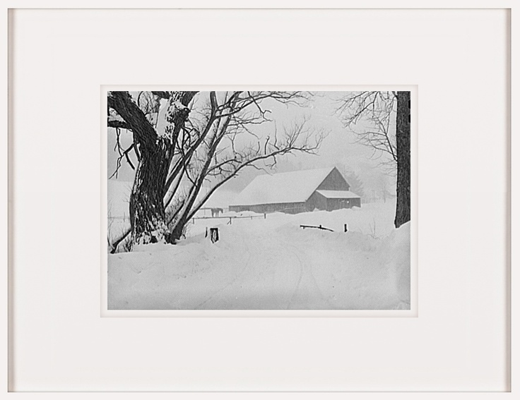 Highway and Farm during snowstorm near Barnyard Vermont by Marion Post-Wolcott   http://artsation.com/en/marion-post-wolcott-highway-and-farm-during-snowstorm-near-barnyard-vermont