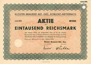 Kloster-Brauerei AG Aktie 1.000 RM 1.10.1939 (R 10).