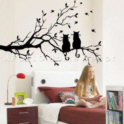 Dos gatos en rama de árbol largo bricolaje Pared Vinilo Adhesivo Adhesivo Pared Animales Aves Arte Transferencias ventana Etiqueta decoración del hogar