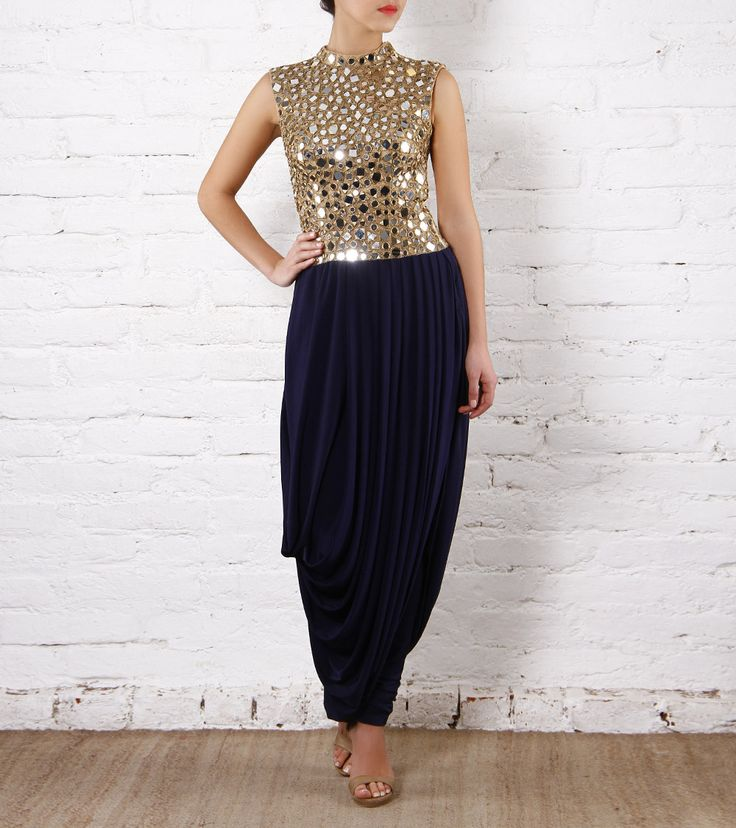 Midnight Blue Dhoti Dress with Mirror Work