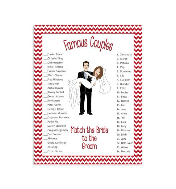 famous couples bridal shower game red flowers groom holding bride wedding shower game instant download couples shower game d288 in 2018 maid of