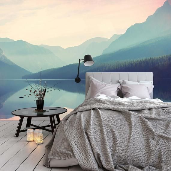 Removable Wallpaper Mural Peel Stick Watercolor Glacier National