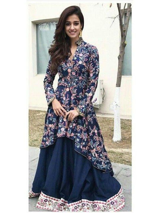 Disha Patani Navy Blue Taffeta Silk #Lehenga With Bangalori Silk Coti And #Nazneen Dupatta