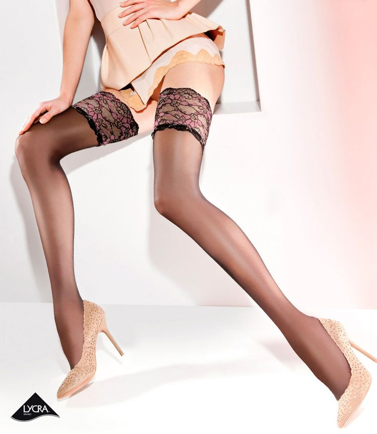 Gabriella Calze Elite Hold Up Stockings £15.99  Thin, slightly transparent hold ups with Lycra fibre. 9cm wide lace top with double silicone strip. Very sexy stockings. #stockings