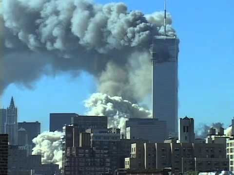 ‪September 11, 2001‬ terrorist attack NYC- the towers fall. Twin Towers drop.