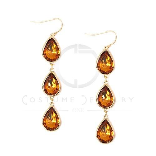 Beautiful Teardrop Earrings! NW38946E-GLD-LT.C.TOPAZ