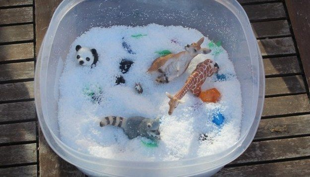 Fake snow is great for sensory play.   41 Dollar Store Hacks Every Parent Should Know About
