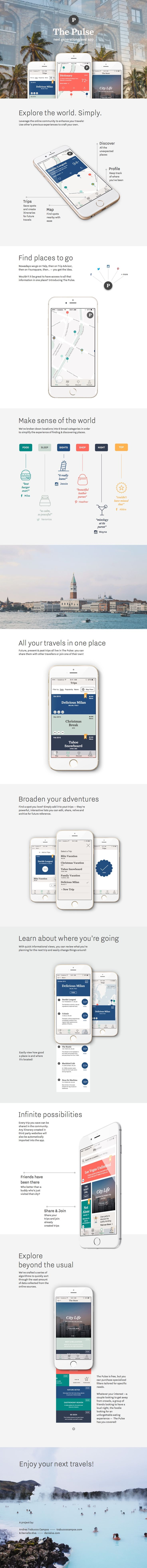 The Pulse travel app by Andrea A. Trabucco-Campos + Danielle Alva #ux #ui #mobile #app