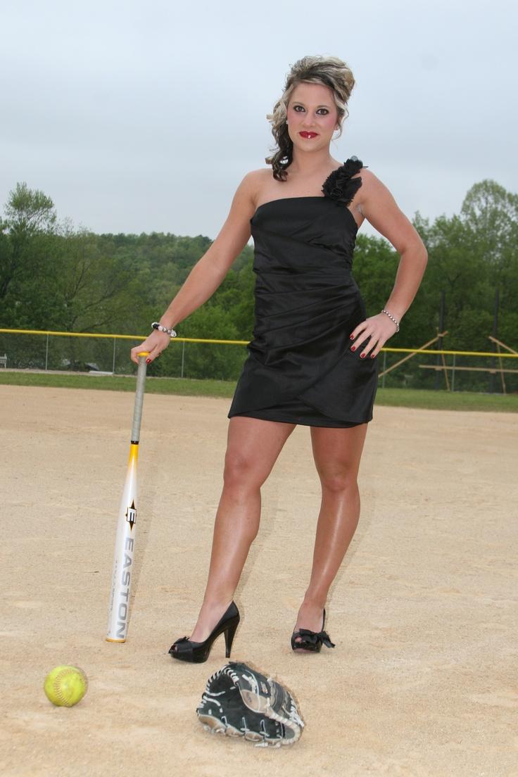 Softball Chick in prom dress CUTE