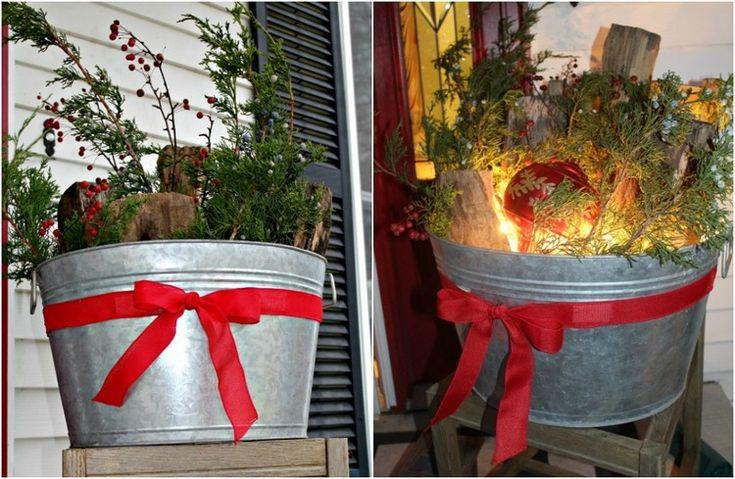 Die besten 25 weihnachtlich dekorieren hauseingang ideen auf pinterest holzdeko weihnachten - Zinkwanne dekorieren ...