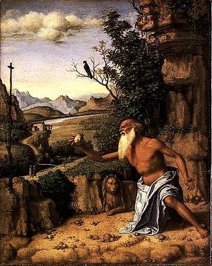 San Girolamo nel deserto  AutoreCima da Conegliano Data1500/1510 TecnicaOlio su tavola Dimensioni32,1 cm × 25,4 cm  UbicazioneNational Gallery, Londra