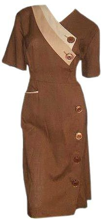 In the 1950s, even day dresses came in two tones, as seen in this rayon linen button-up.