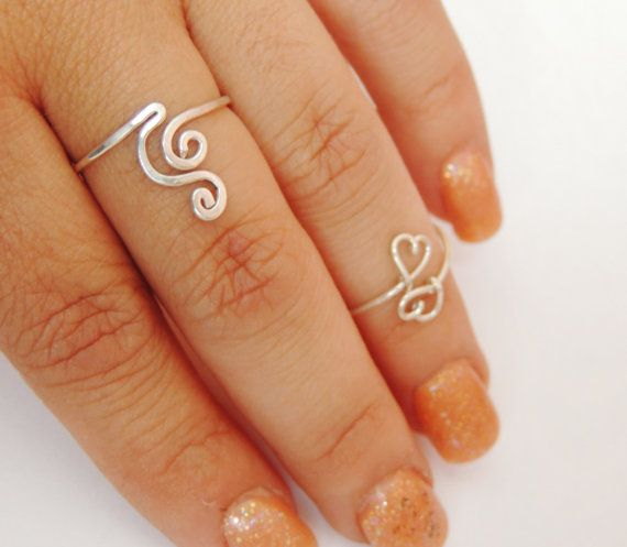 Curly wave wire ring  sterling silver wire gauge 18  by keoops8, $16.00