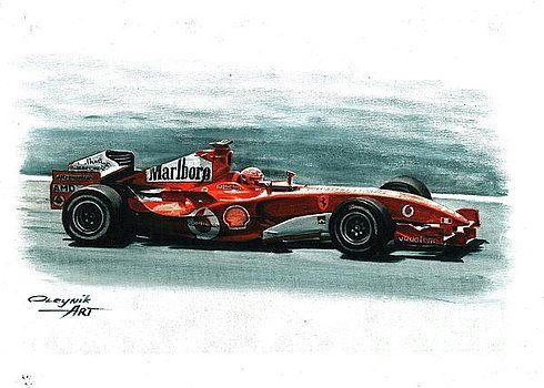 2005, Ferrari F2005,  Michael Schumacher,  Rubens Barrichello, Ferrari F1 collection ART by Artem Oleynik. This collection demonstrating Ferrari F1 racing cars since 1950 to 2016 and includes 96 pictures in oil on canvas. The size of each original picture is 25 x 35 cm.