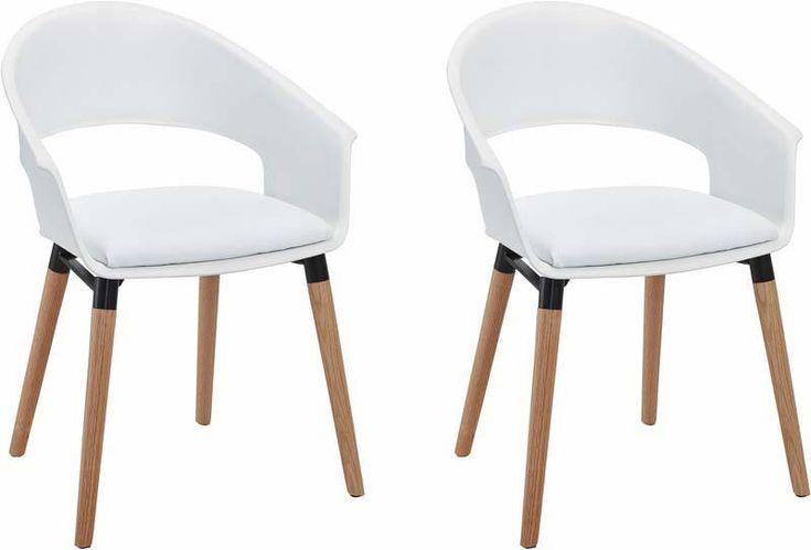 Albany+Spisestuestol+Hvid+PU+sæde+-+