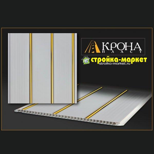 Пластиковая панель 3-х секционная для потолка, Золотые полосы