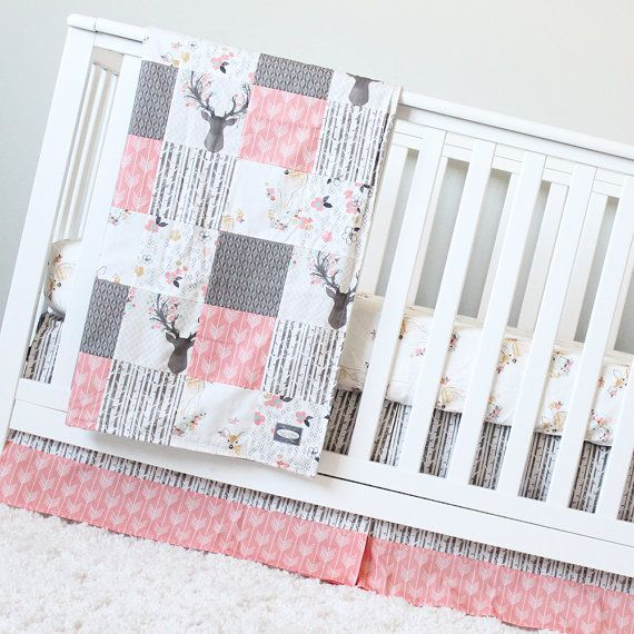 Girl Crib Bedding Coral Taupe Woodlands Baby by GiggleSixBaby