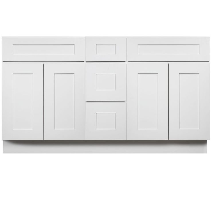 60 Inch Bathroom Vanity Double Sink Cabinet in Shaker White with Soft Close Drawers & Doors 60""