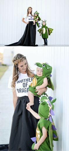 Creative Mom and Kid Halloween Costumes - Mother of Dragons and Baby Dragons with @potterybarnkids. Photo by @chrissypowers