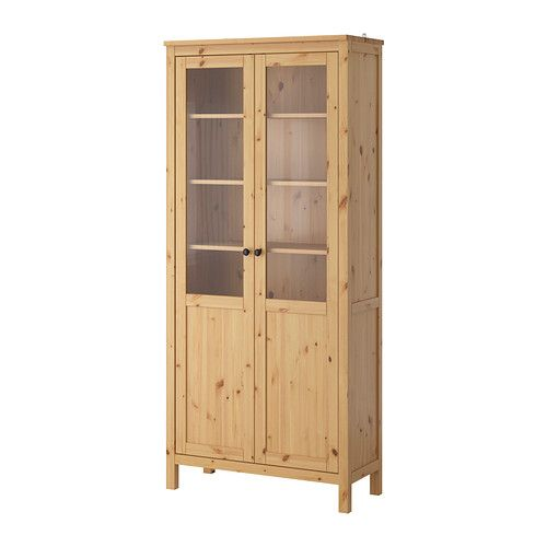 HEMNES Cabinet with panel/glass door - light brown - IKEA // dining storage. but ugh i just hate this one so much