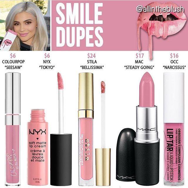 Kylie Jenner Smile lip kit dupes