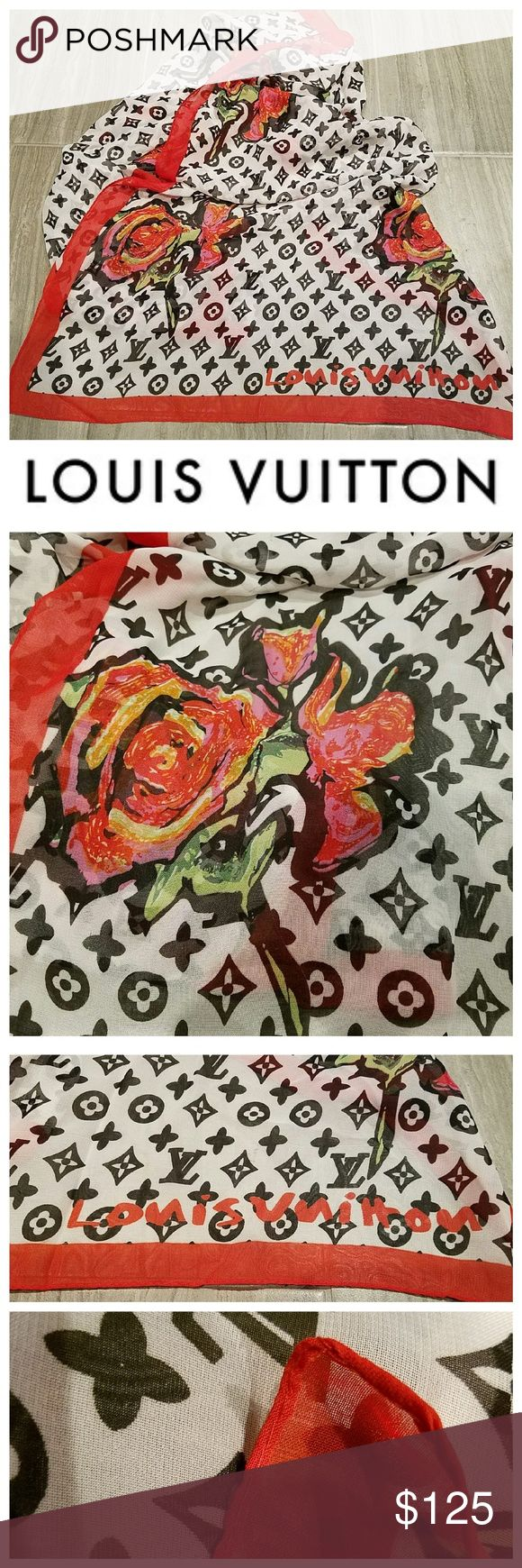 Beautiful LOUIS VUITTON Stephen Sprouse Roses Scar Gorgeous Scarf from Stephen Sprouse for Louis Vuitton. Red Roses on White Background with the LV logo in Black. Made in Italy, 100% Silk, Hand Rolled Edges. Tag has fell off and there is some runs in the material. No holes or stains. Louis Vuitton Other