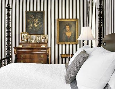 DIY: No Paint Striped Walls done with electrical tape. Not sure how well it will hold up or how it looks up close but in pictures it's lovely.: Stripes Wallpapers, Half Bath, Black And White, Interiors, Flowers Girls, Paper Flowers, White Bedrooms, Strips, Black White Stripes