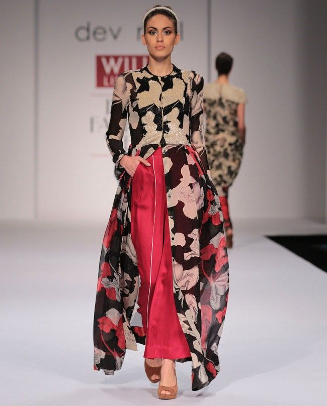 Printed Tunic with Magenta Palazzo Pants- Buy Suits,New Arrivals,Dev R Nil Online   Exclusively.in