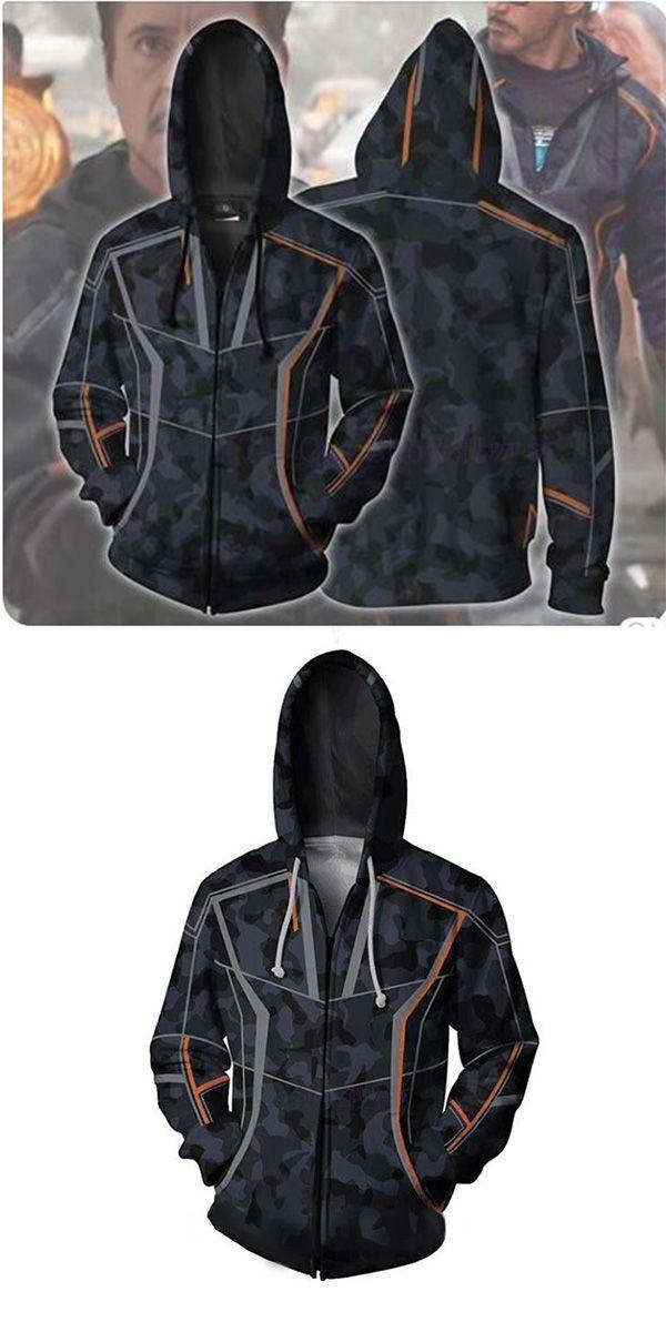 Mens Hoodie Zipper Jacket Coat Avenger Infinity War Iron Man Costume Tony Stark