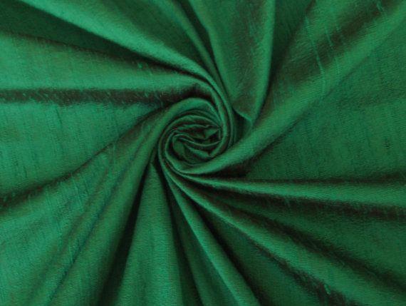 Emerald Green 100% dupioni silk fabric yardage by DesignersNeeds