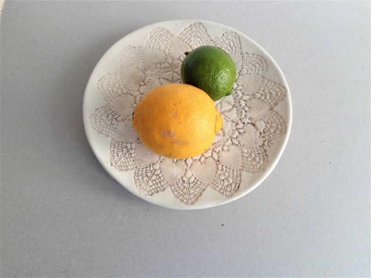 "Stoneware low ceramic footed cake stand, 20cm 8"" lace textured romantic shabby chic rustic pottery cupcake plate, fruit display by MonikaWithaKCeramics on Etsy"