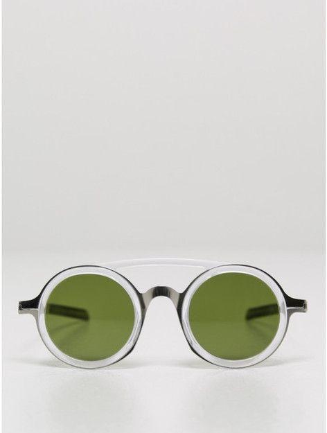 mykita / damir doma dd03 sunglasses in silver/green | Oak NYC