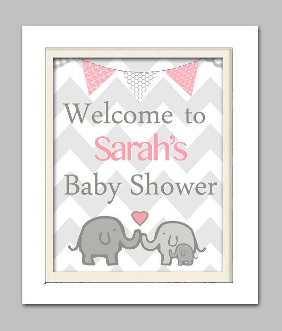 Elephant baby shower decorations, Elephant baby shower sign, Elephant Baby shower, Pink and Gray Nursery,  Choose your colors