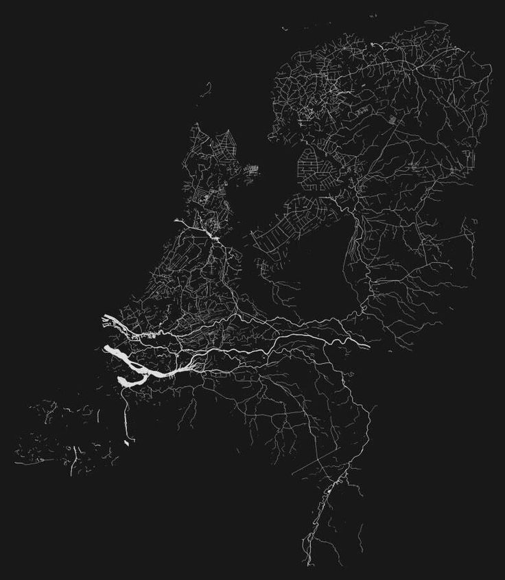 The Netherlands, Waterland! Map of Netherlands showing just canals and rivers..