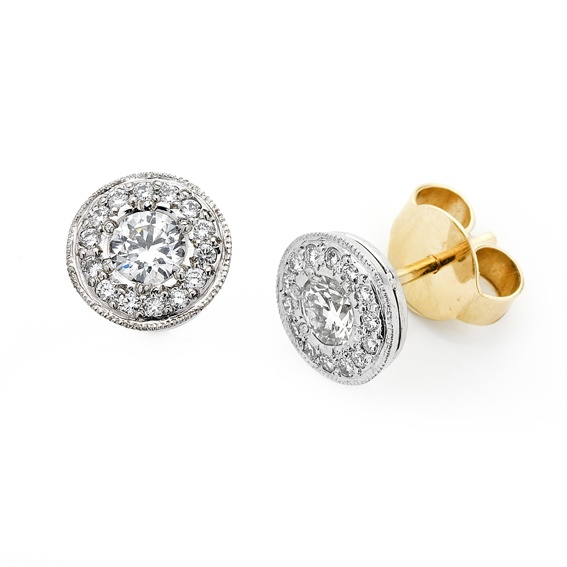 'Halo' diamond earrings  Simple, elegant and sparkle...What more could a girl ask for... and yes they can be made in different size diamonds!