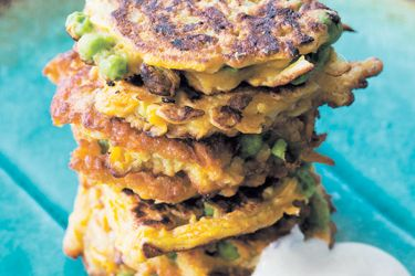 Butternut, pea and haloumi fritters
