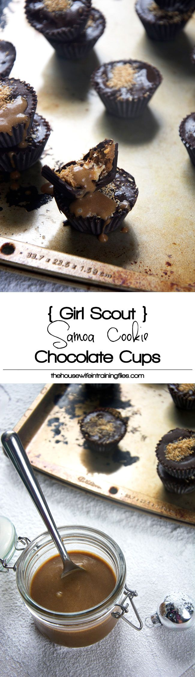 Your dessert table gets spruced up with these Girl Scout Samoa Cookie Chocolate Cups! All the flavors of your favorite girl scout cookie stuffed inside a chocolate cup! #girlscoutcookie #carameldelights #samoa #chocolatecups