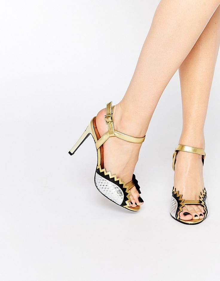 Image 1 of Kat Maconie Gretchen Silver & Gold Jagged Heeled Sandals