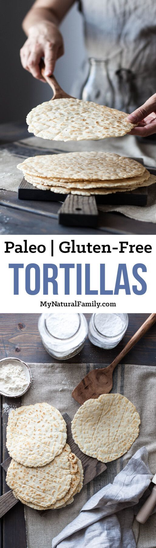 These Paleo tortillas are really good. I like to make a bunch ahead of time and have them on hand for lunch, between meals, breakfast burritos or for all sorts of dinner uses, like tacos, burritos, wraps, fajitas, enchiladas - or even in place of naan, pitas or bread.