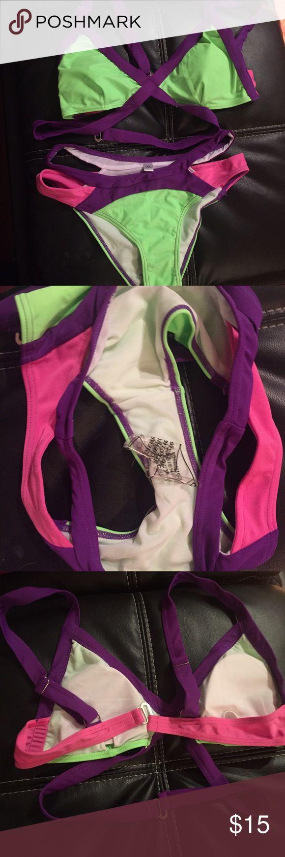 Cut Out Neon Bikini 👙 Runs Small Tags say XL but I say Med NWT Swim Bikinis
