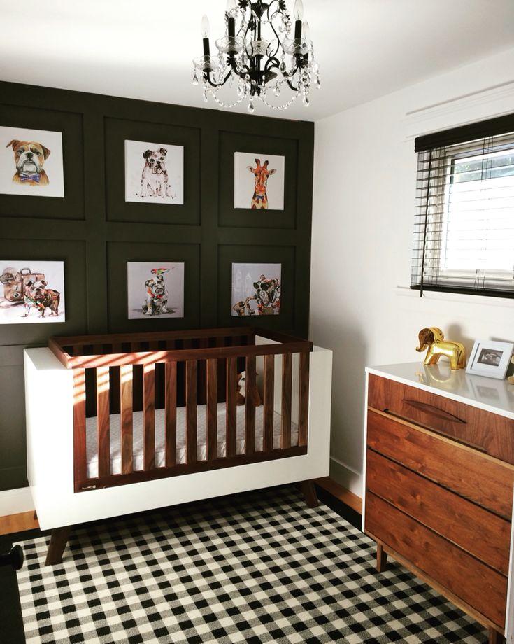 Mid Century Modern Nursery w/ Bulldogs crib by Fleetham Design