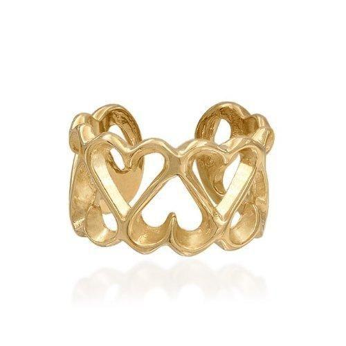 Bling Jewelry Vermeil Gold Open Heart Ear Cuff 925 Sterling Silver