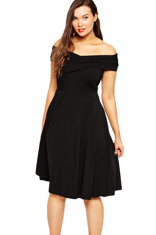 Solid Black Twist Off Shoulder Curvy Skater Dress