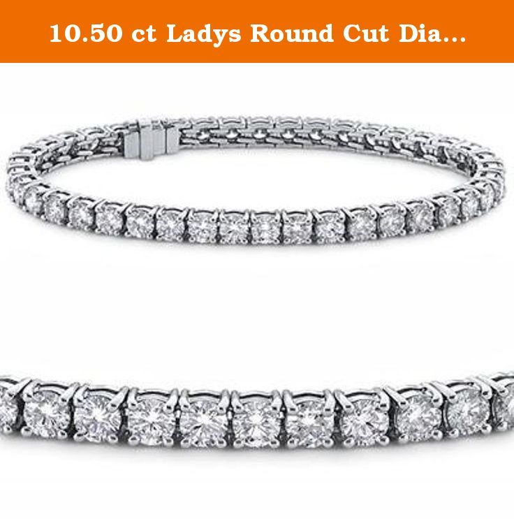 10.50 ct Ladys Round Cut Diamond Tennis Bracelet In 14 Karat White Gold. Whether it's an anniversary gift or birthday present diamond tennis bracelets are the perfect choice for your special lady. Here we have a gorgeous diamond tennis bracelet with a tremendous total weight of 6.00 carats; all of these sparkling diamonds have top white G color and superb SI-1 clarity. Every stone in this bracelet is handpicked for ideal cut and exemplary shine so each diamond on this bracelet matches…