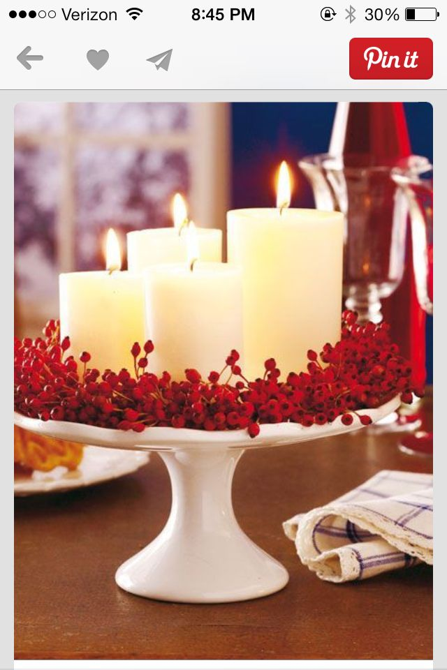 Take away the cake stand and have only one pillar candle with a much smaller berry wreath surrounding the base