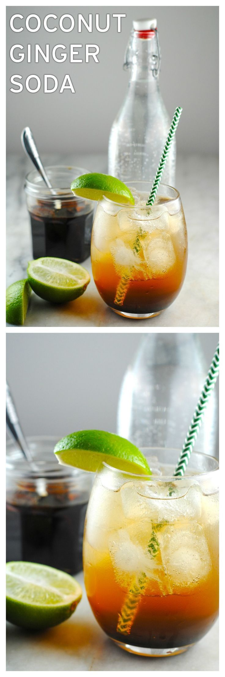 This coconut ginger soda is made with a concentrate of coconut sugar and ginger. It tastes great with sparkling water but you could put it on vanilla ice cream or add it to a cocktail. Yum!  http://theblenderist.com/coconut-ginger-soda/