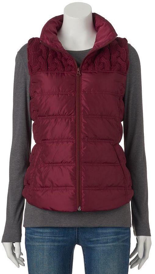 Juniors' SO® Sweater-Yoke Puffer Vest